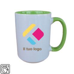 Una grande tazza con personalizzazione con il centro e il manico colorati 440 ml, Diam 8,2 cm, Alt(h) 10,5 cm