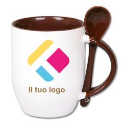 Tazza personalizzata con stampa con un cucchiaio, il manico e interno colorato - marrone 350 ml, Diam 8 cm, Alt(h) 10 cm
