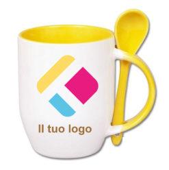 Tazza personalizzata con stampa con un cucchiaio, il manico e interno colorato - giallo 350 ml, Diam 8 cm, Alt(h) 10 cm
